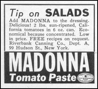 MADONNA TOMATO PASTE WOMAN'S DAY 06/01/1941 p. 51