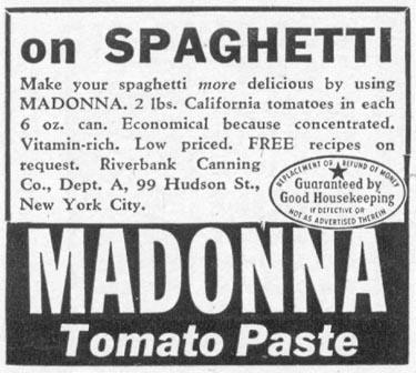 MADONNA TOMATO PASTE WOMAN'S DAY 09/01/1942 p. 74