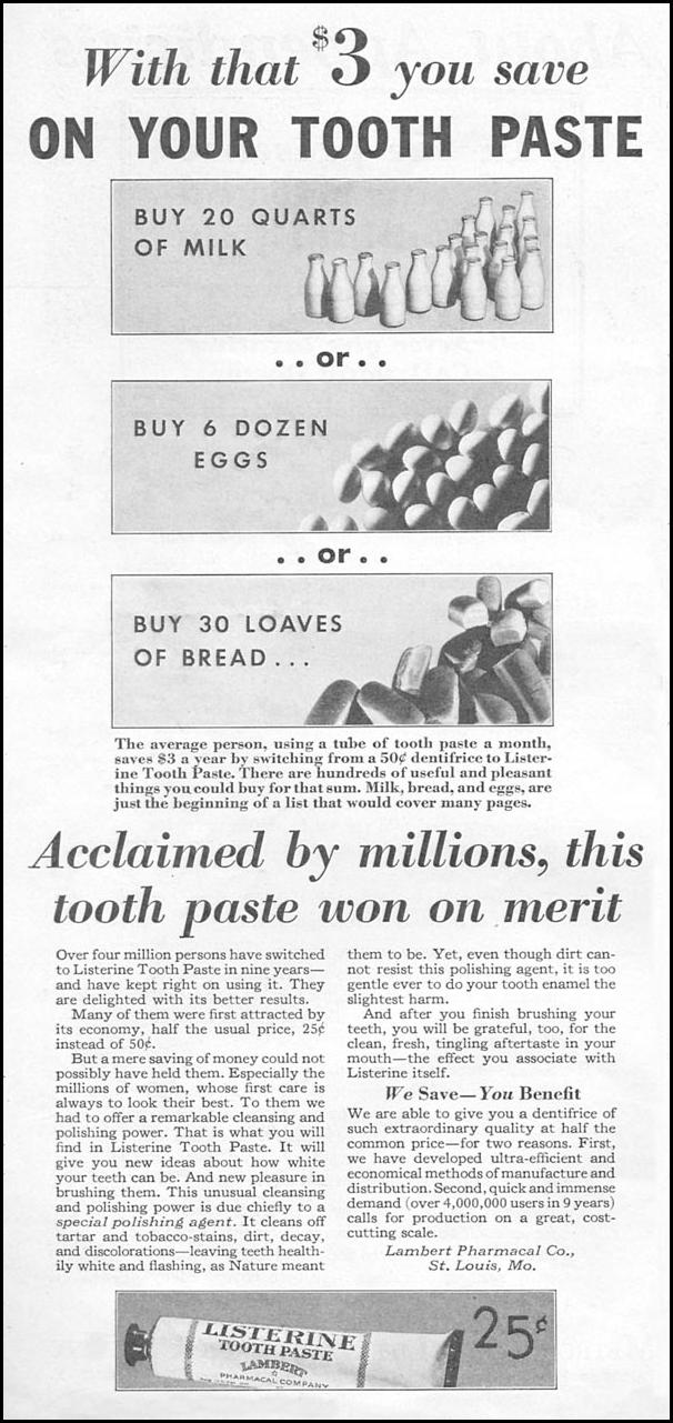 LISTERINE TOOTHPASTE GOOD HOUSEKEEPING 01/01/1932 p. 132
