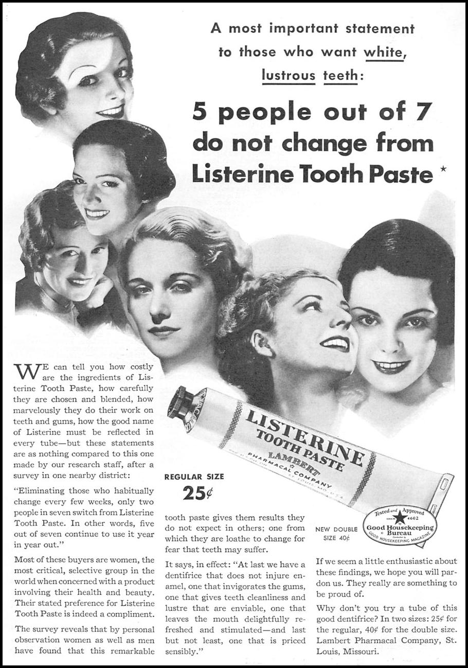 LISTERINE TOOTHPASTE GOOD HOUSEKEEPING 12/01/1934 p. 107