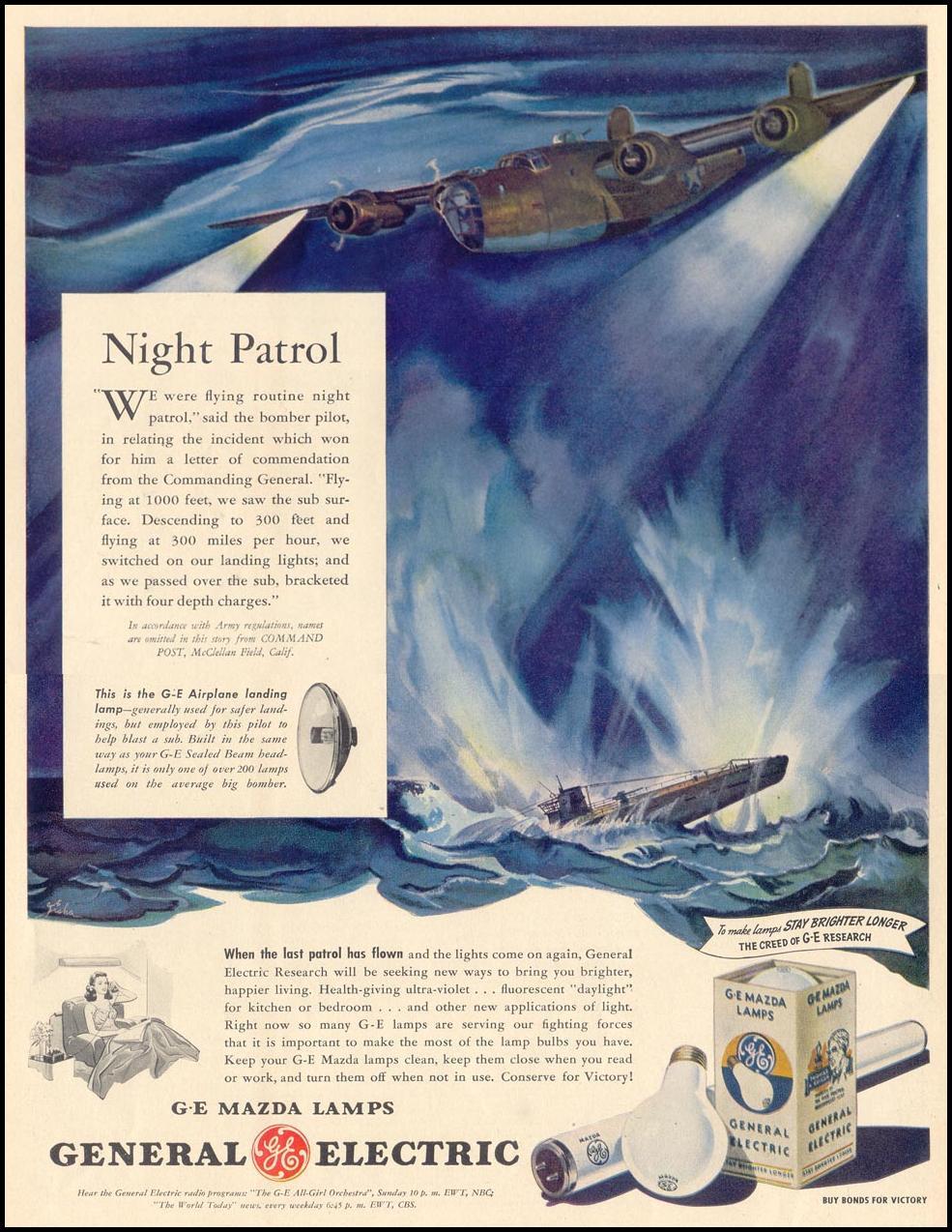 G. E. MAZDA LAMPS LIFE 02/21/1944