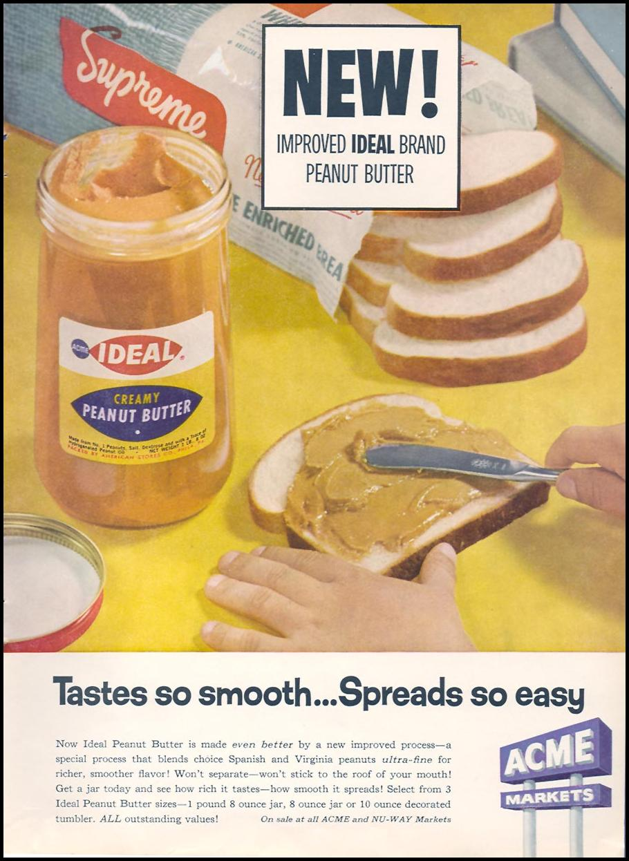 IDEAL BRAND PEANUT BUTTER FAMILY CIRCLE 02/01/1958