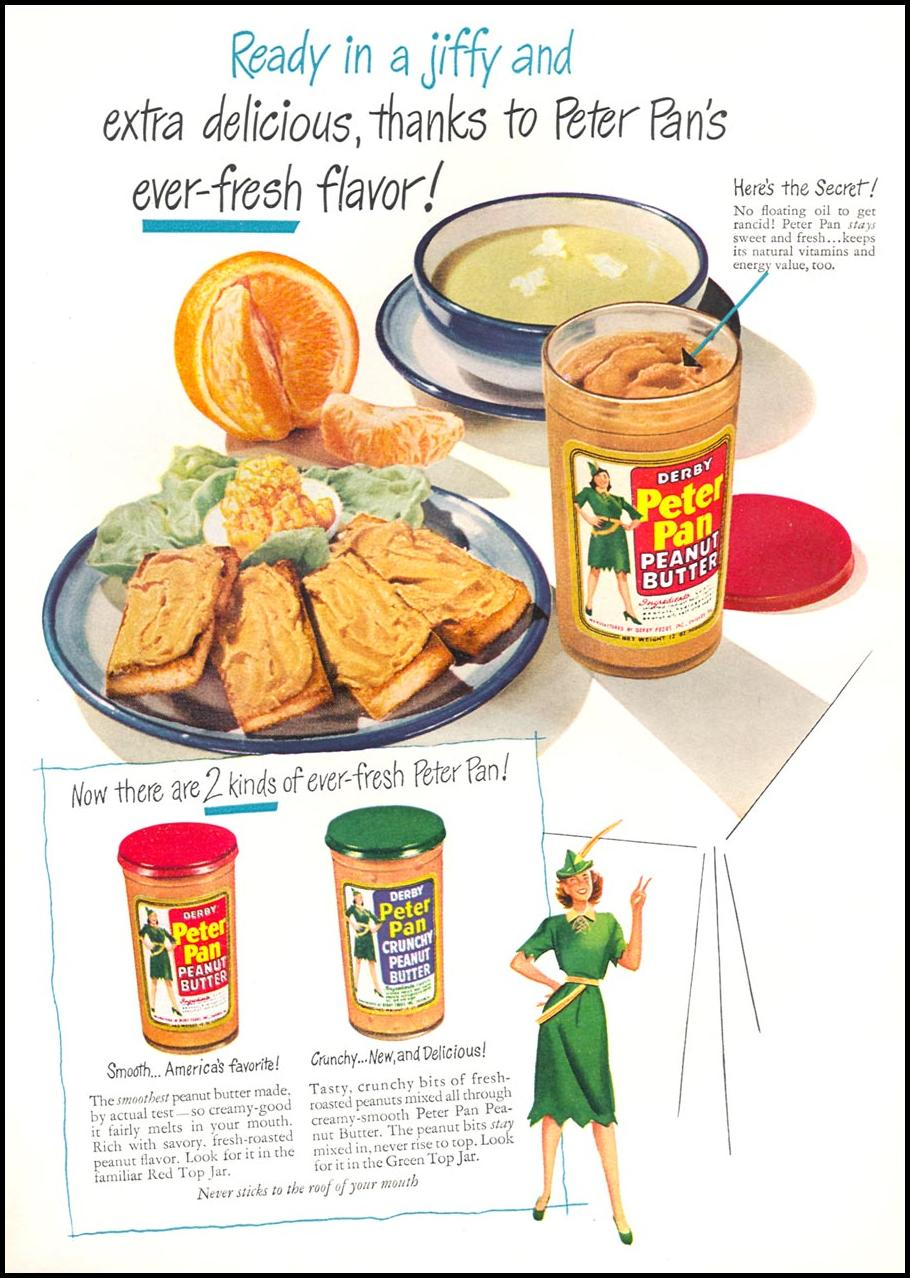 PETER PAN PEANUT BUTTER WOMAN'S DAY 02/01/1949 INSIDE FRONT