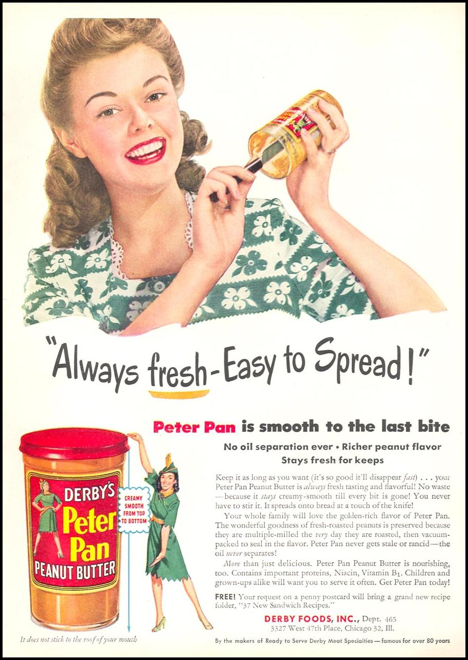 PETER PAN PEANUT BUTTER WOMAN'S DAY 05/01/1946 INSIDE BACK