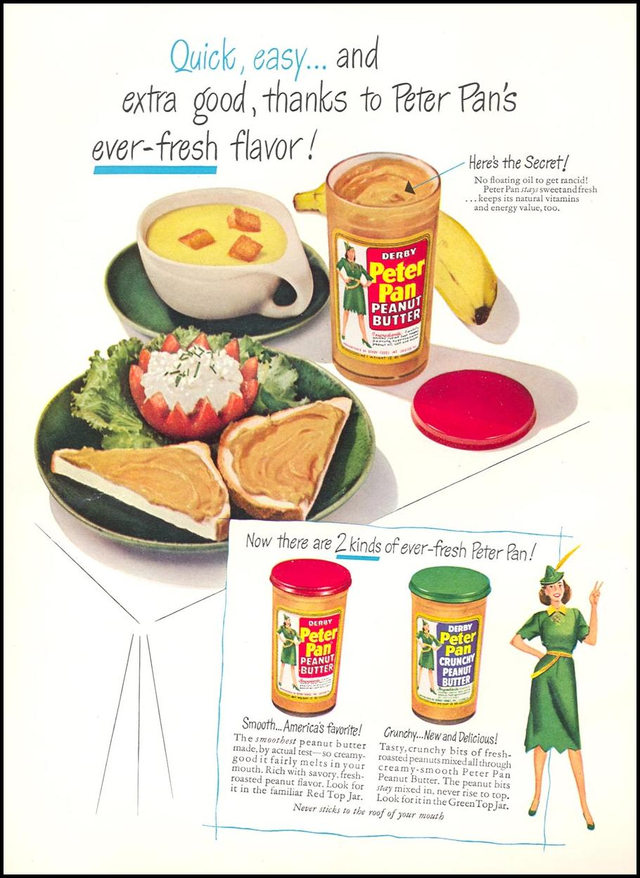 PETER PAN PEANUT BUTTER WOMAN'S DAY 05/01/1949 INSIDE FRONT