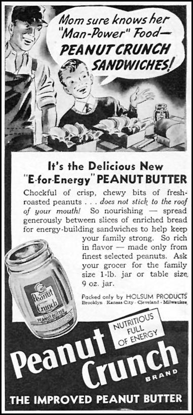 HOLSUM PEANUT CRUNCH WOMAN'S DAY 06/01/1943 p. 72