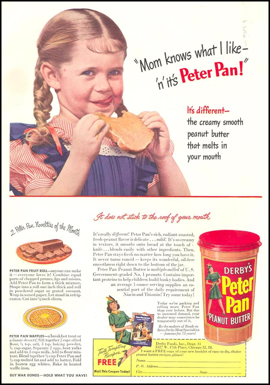 PETER PAN PEANUT BUTTER WOMAN'S DAY 07/01/1945 INSIDE BACK
