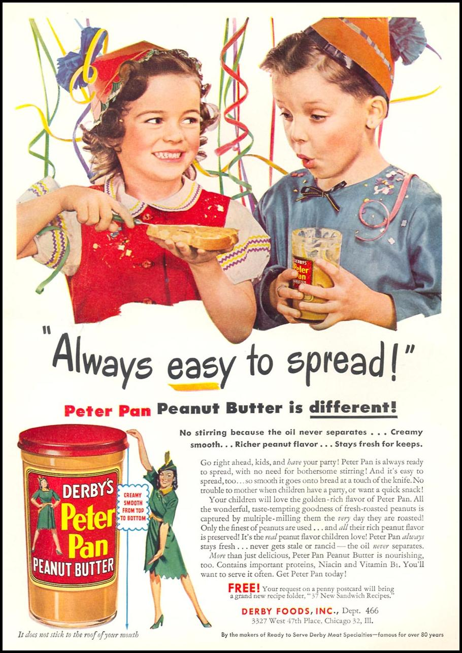 PETER PAN PEANUT BUTTER WOMAN'S DAY 07/01/1946 INSIDE FRONT