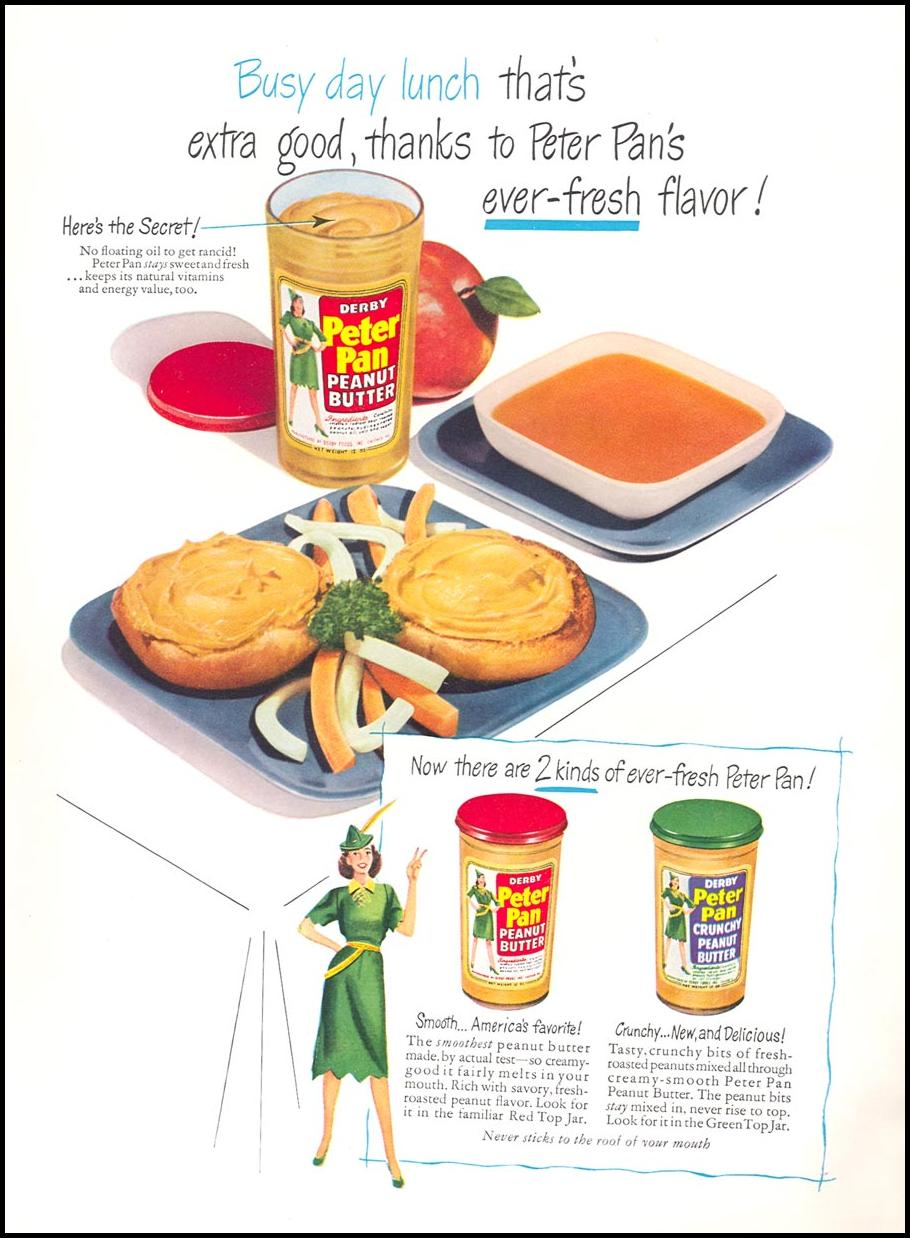 PETER PAN PEANUT BUTTER WOMAN'S DAY 07/01/1949 INSIDE FRONT