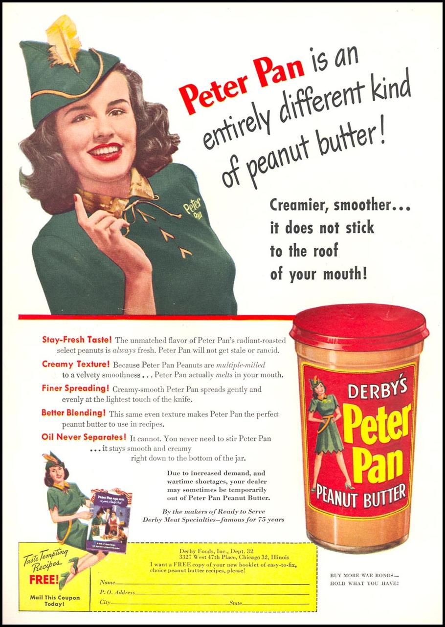 PETER PAN PEANUT BUTTER WOMAN'S DAY 09/01/1945 INSIDE FRONT
