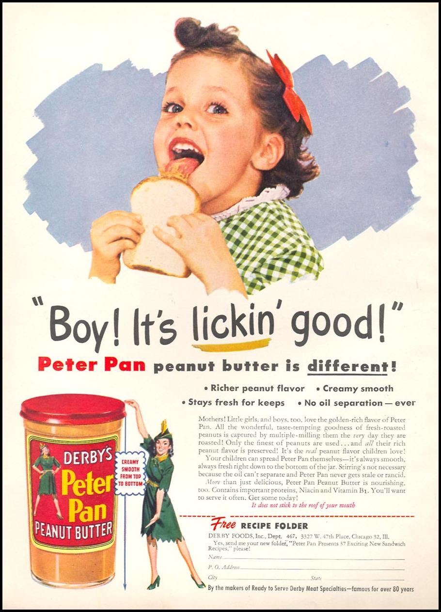 PETER PAN PEANUT BUTTER WOMAN'S DAY 09/01/1946 INSIDE FRONT