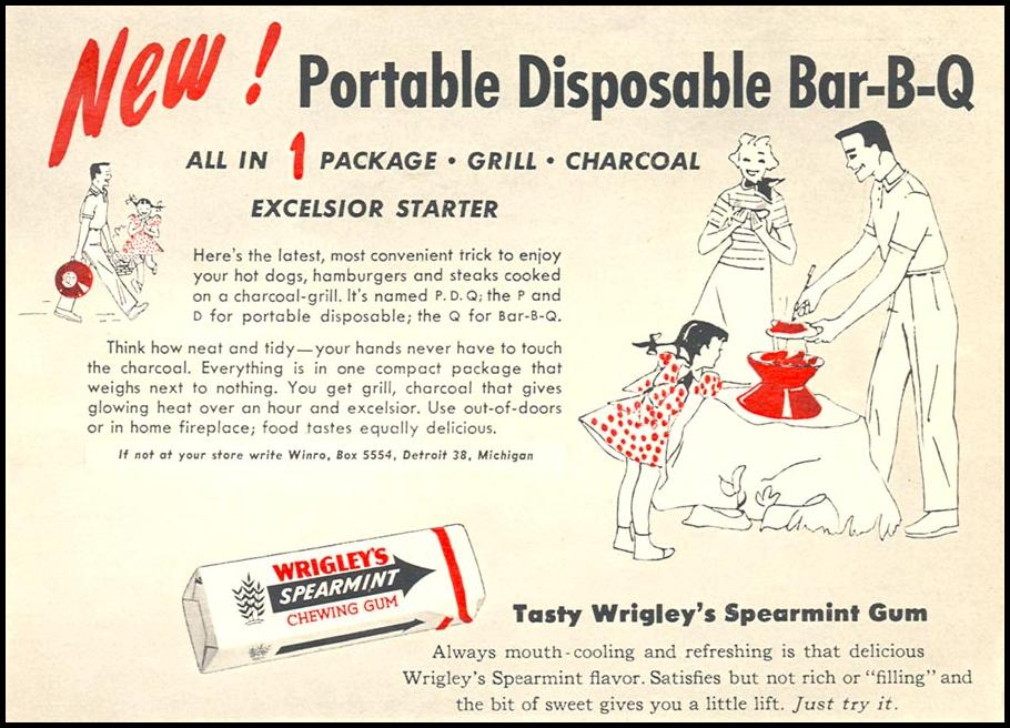 P. D. Q. PORTABLE DISPOSABLE BAR-B-QUE WOMAN'S DAY 09/01/1955 p. 101