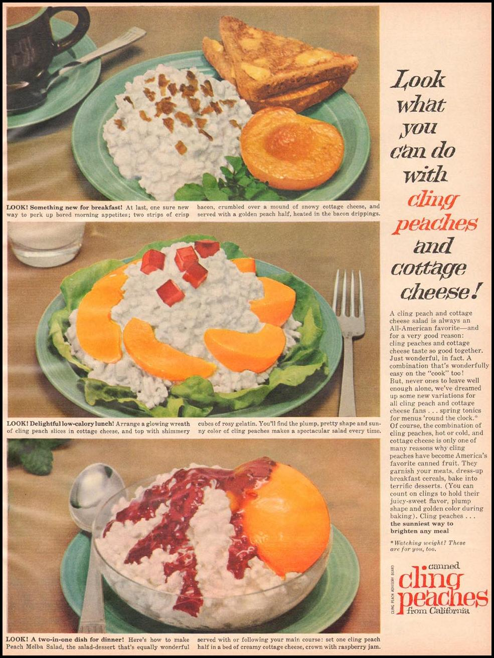 CALIFORNIA CLING PEACHES BETTER HOMES AND GARDENS 03/01/1960 p. 121
