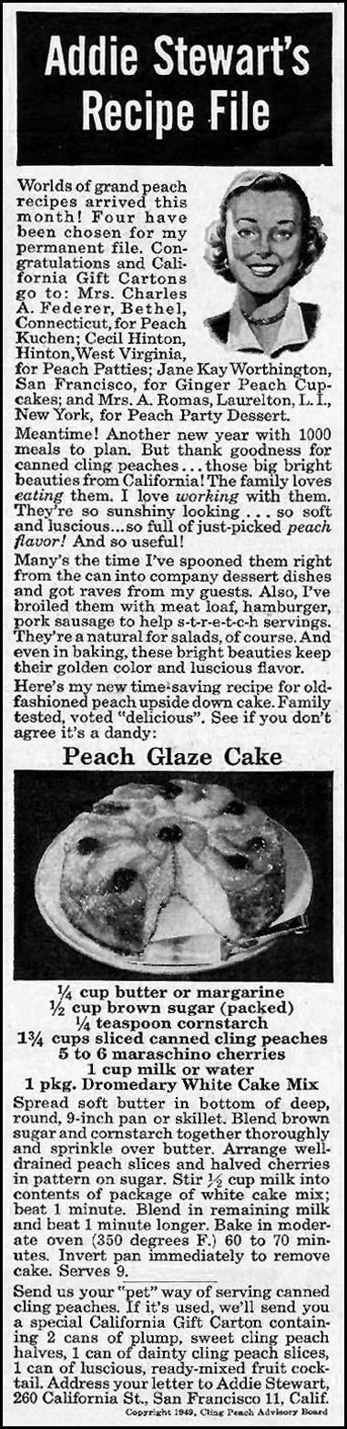 CALIFORNIA CLING PEACHES WOMAN'S DAY 01/01/1949 p. 20