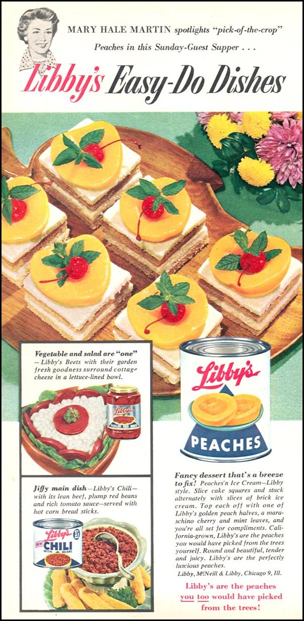 LIBBY CANNED PEACHES WOMAN'S DAY 04/01/1956 p. 72