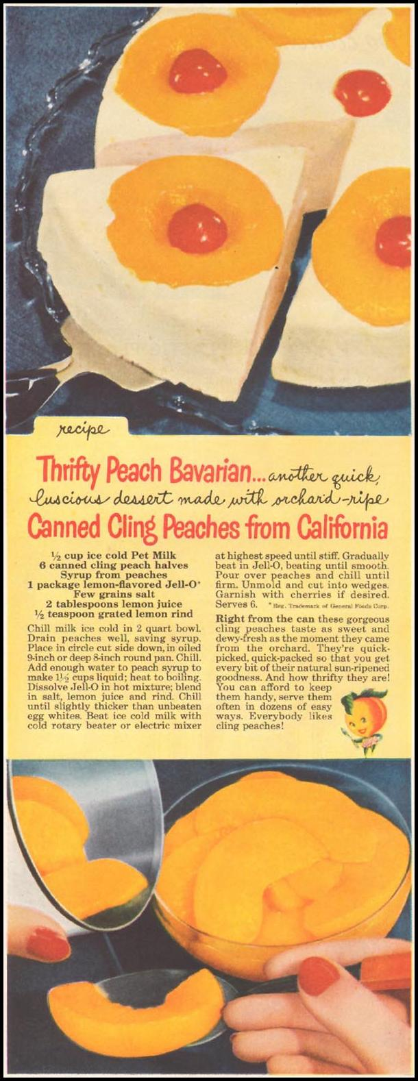 CANNED CLING PEACHES FROM CALIFORNIA LADIES' HOME JOURNAL 11/01/1950 p. 232
