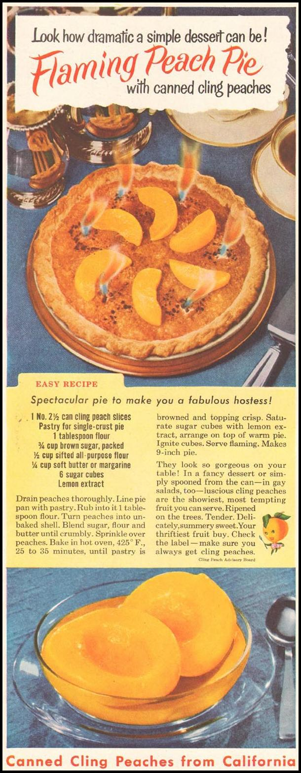 CALIFORNIA CLING PEACHES LADIES' HOME JOURNAL 03/01/1954 p. 166