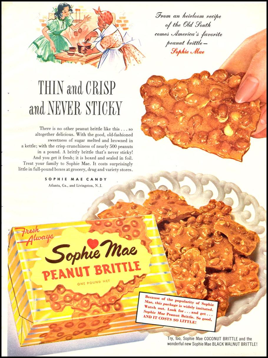 SOPHIE MAE PEANUT BRITTLE WOMAN'S DAY 12/01/1954 p. 55