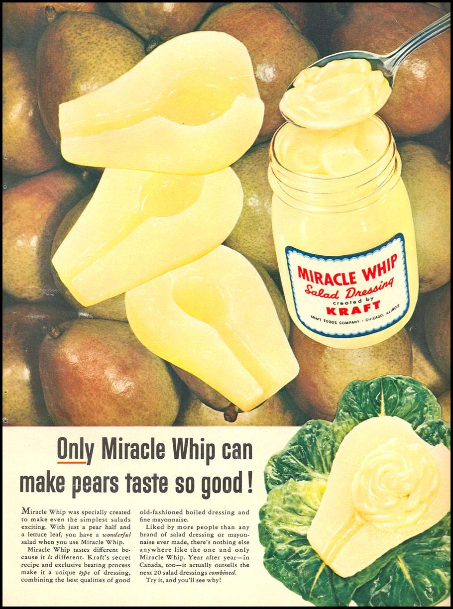 MIRACLE WHIP SALAD DRESSING WOMAN'S DAY 09/01/1955 p. 27