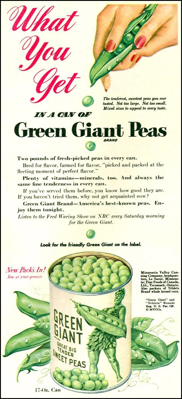 GREEN GIANT GREAT BIG TENDER SWEET PEAS WOMAN'S DAY 09/01/1949 p. 58