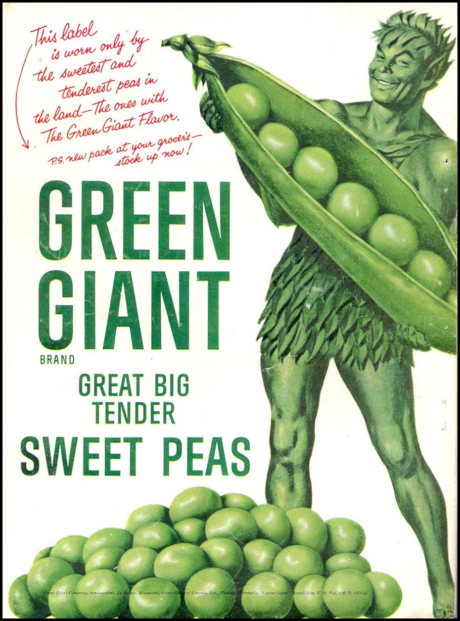GREEN GIANT GREAT BIG TENDER SWEET PEAS WOMAN'S DAY 09/01/1955 BACK COVER