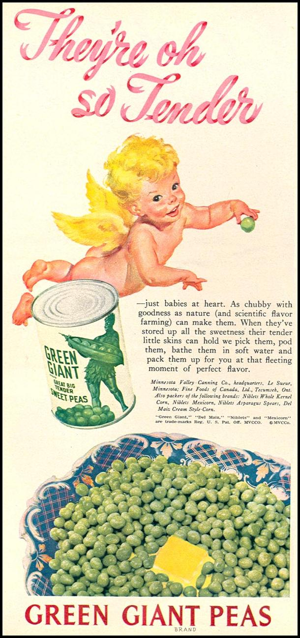 GREEN GIANT CANNED PEAS WOMAN'S DAY 12/01/1948 p. 30