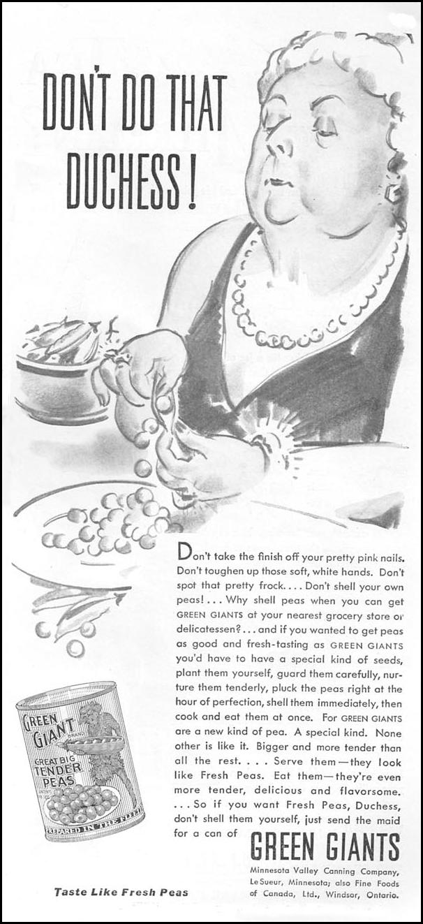GREEN GIANT GREAT BIG TENDER PEAS GOOD HOUSEKEEPING 04/01/1936 p. 191