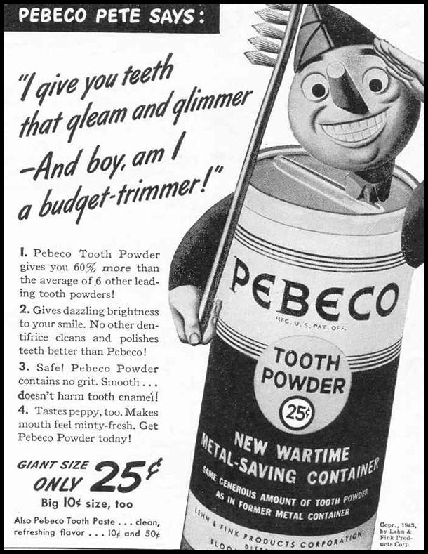PEBECO TOOTH POWDER LIFE 02/14/1944 p. 97