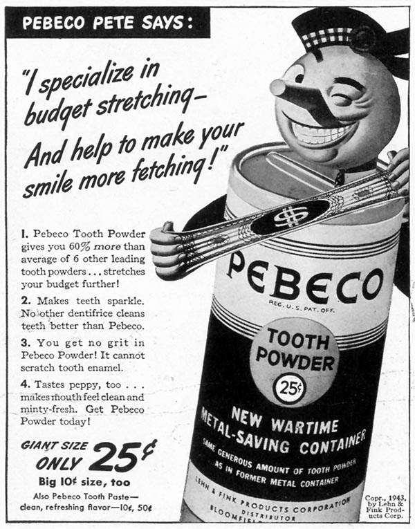 PEBECO TOOTH POWDER LIFE 02/28/1944 p. 112