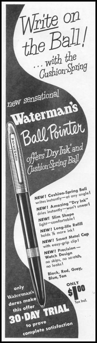 WATERMAN'S BALL POINTER PEN LIFE 01/21/1952 p. 95
