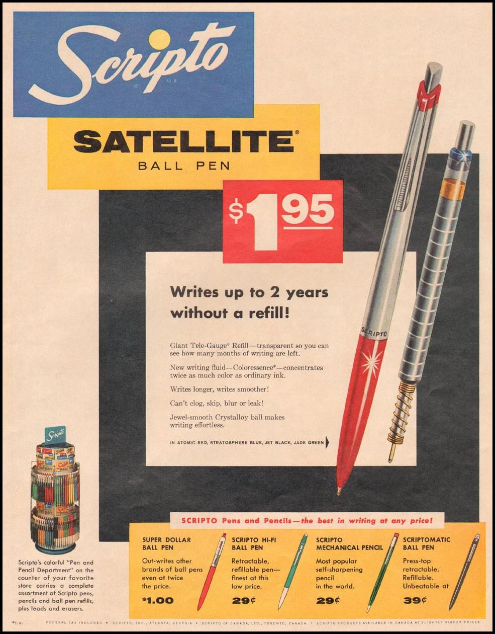 SCRIPTO SATELLITE BALL PEN LIFE 09/15/1958