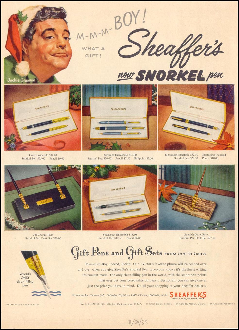 SHEAFFER'S SNORKEL PEN LIFE 11/30/1953 p. 12