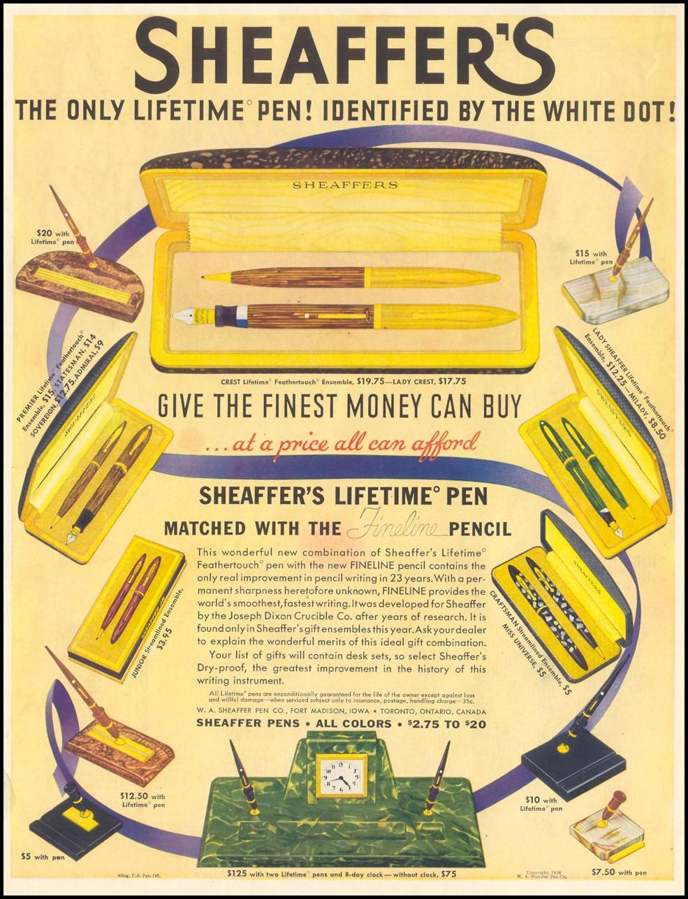 SHEAFFER'S LIFETIME PEN LIFE 12/12/1938 INSIDE FRONT