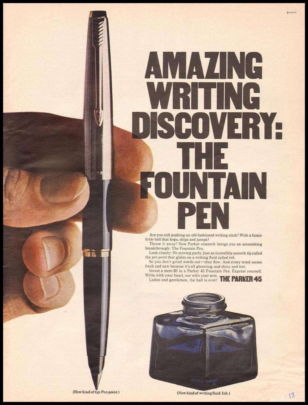 PARKER 45 FOUNTAIN PEN LIFE 12/22/1967 p. 13