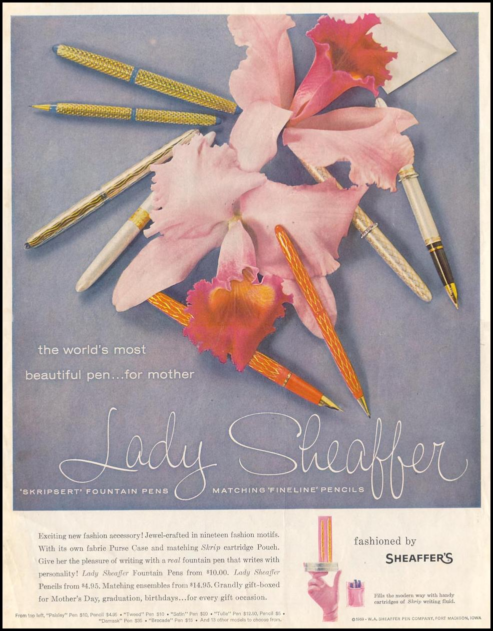 LADY SHEAFFER FOUNTAIN PENS AND PENCILS SATURDAY EVENING POST 05/02/1959 INSIDE FRONT