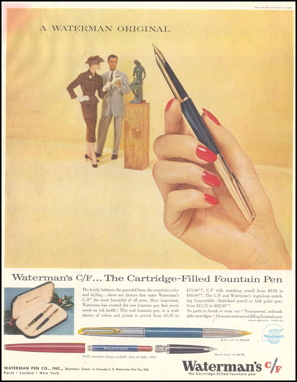 WATERMAN'S CARTRIDIGE-FILLED FOUNTAIN PEN SATURDAY EVENING POST 12/10/1955
