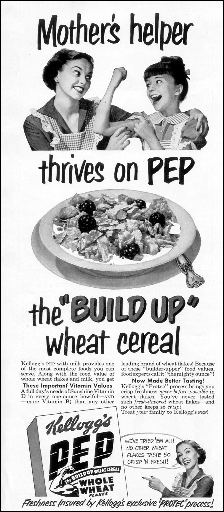 KELLOGG'S PEP WHOLE WHEAT FLAKES LOOK 12/04/1951 p. 44
