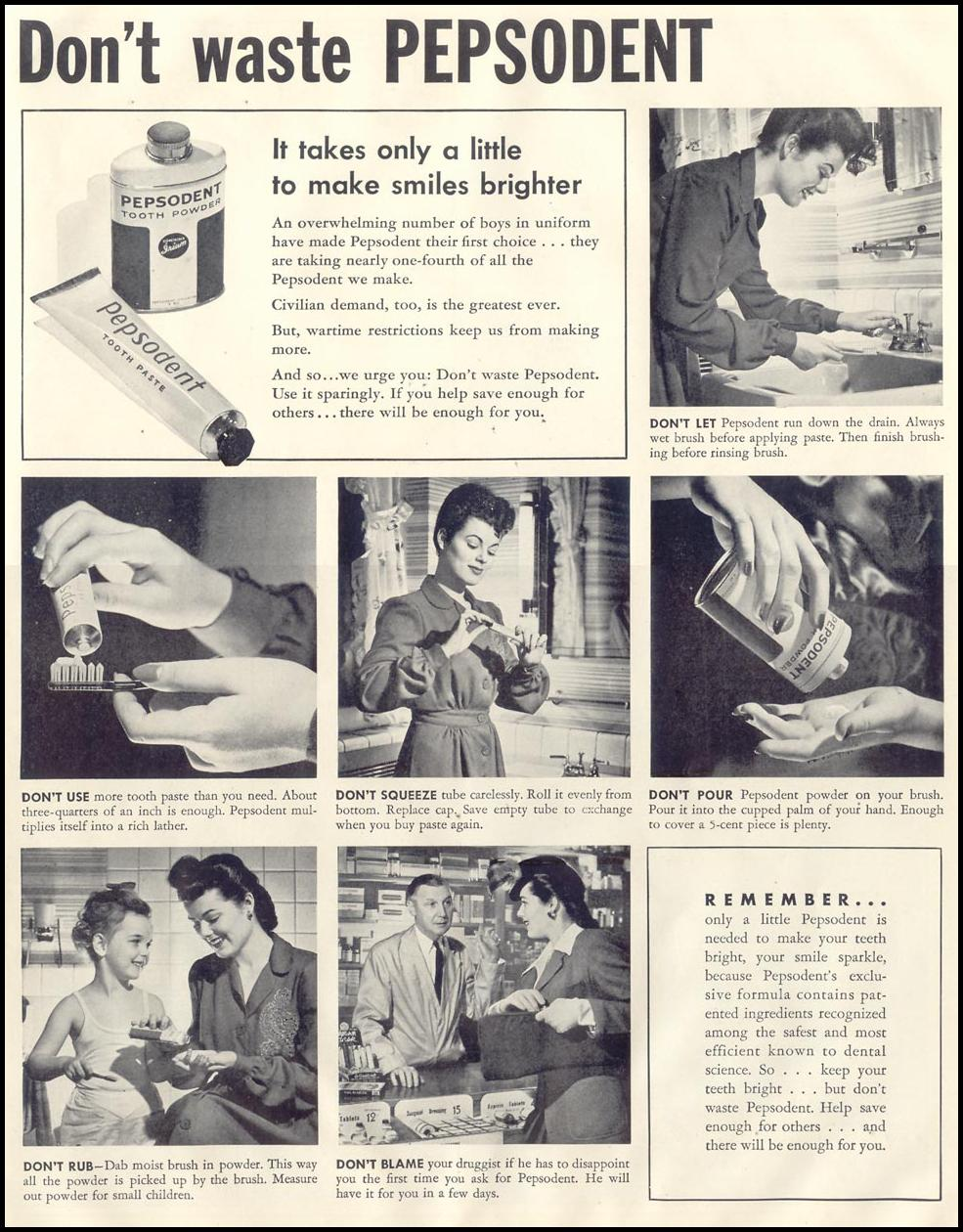 PEPSODENT TOOTHPASTE LIFE 11/30/1942 p. 21