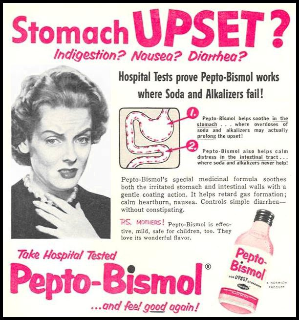 PEPTO-BISMOL WOMAN'S DAY 04/01/1956 p. 98