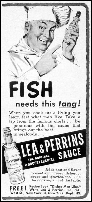 LEA & PERRINS SAUCE WOMAN'S DAY 03/01/1952 p. 168