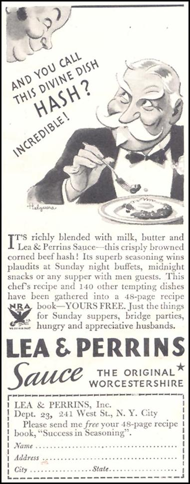 LEA & PERRINS SAUCE GOOD HOUSEKEEPING 03/01/1935 p. 202