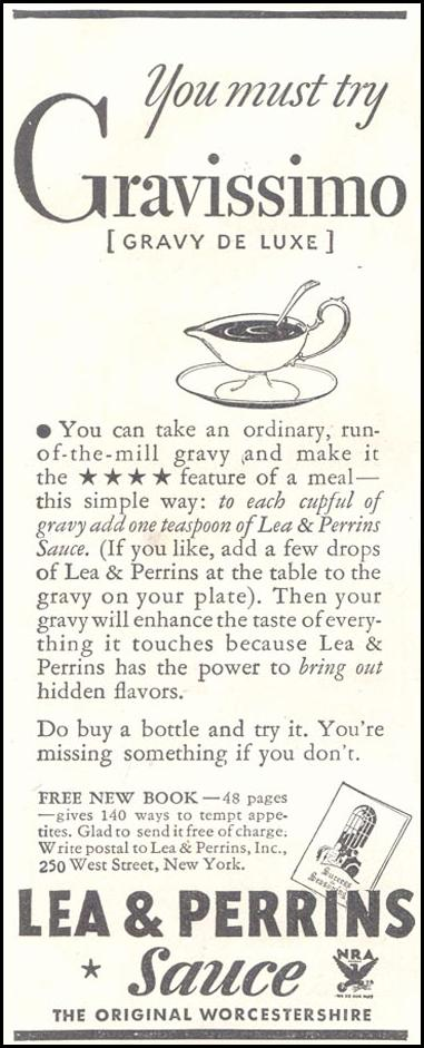 LEA & PERRINS SAUCE GOOD HOUSEKEEPING 11/01/1933 p. 213