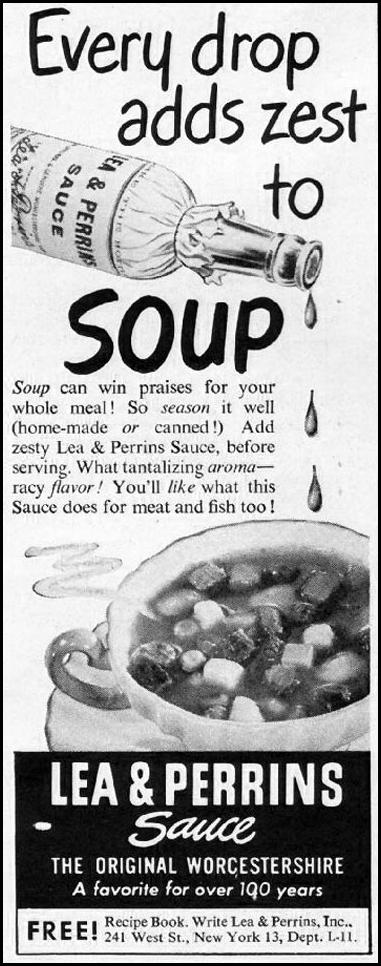 LEA & PERRINS SAUCE LADIES' HOME JOURNAL 11/01/1950 p. 171