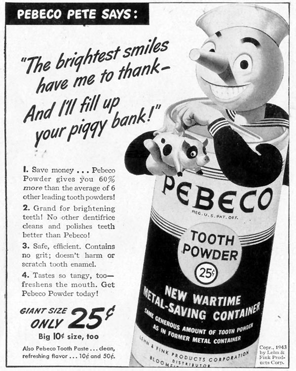 PEBECO TOOTH POWDER LIFE 11/08/1943 p. 121