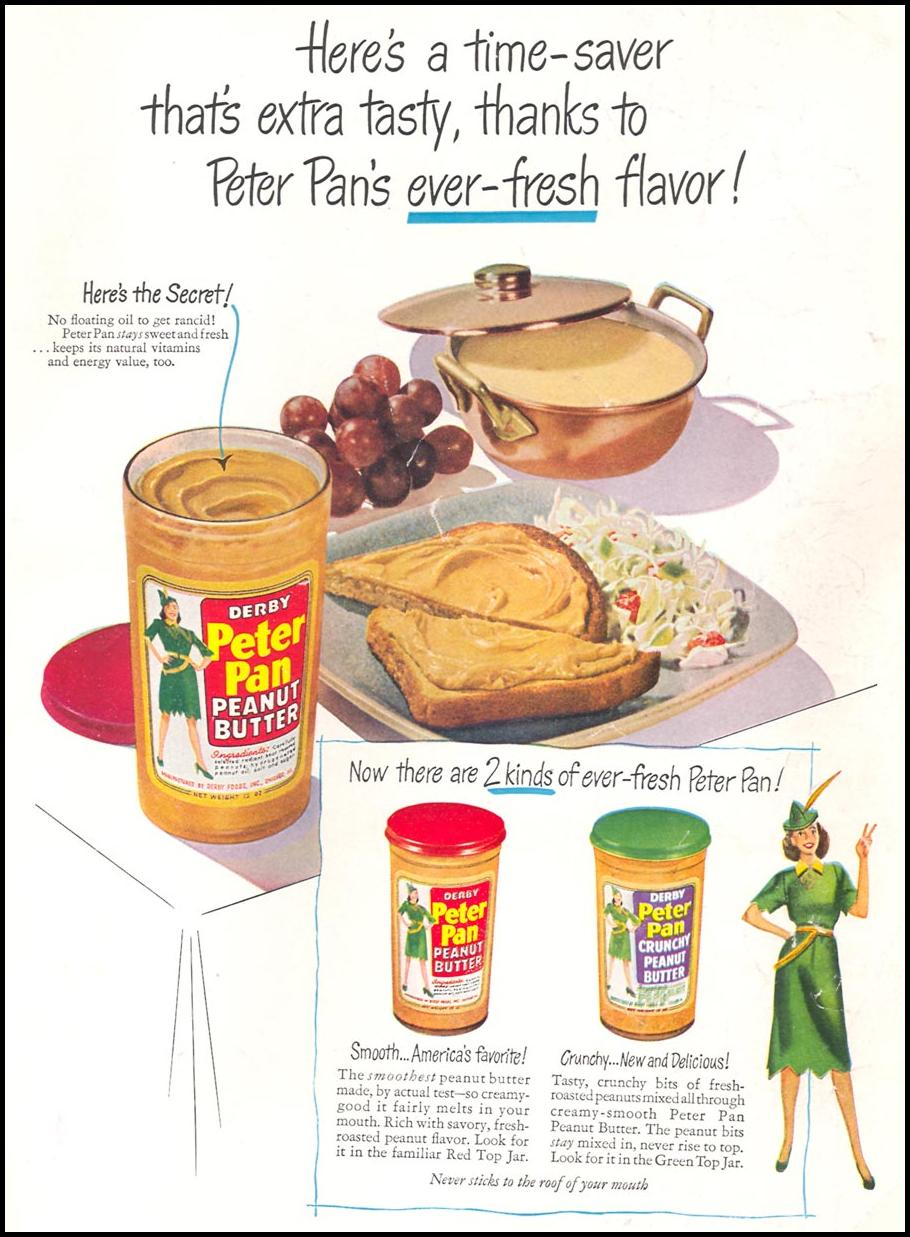 PETER PAN PEANUT BUTTER WOMAN'S DAY 08/01/1949 INSIDE BACK