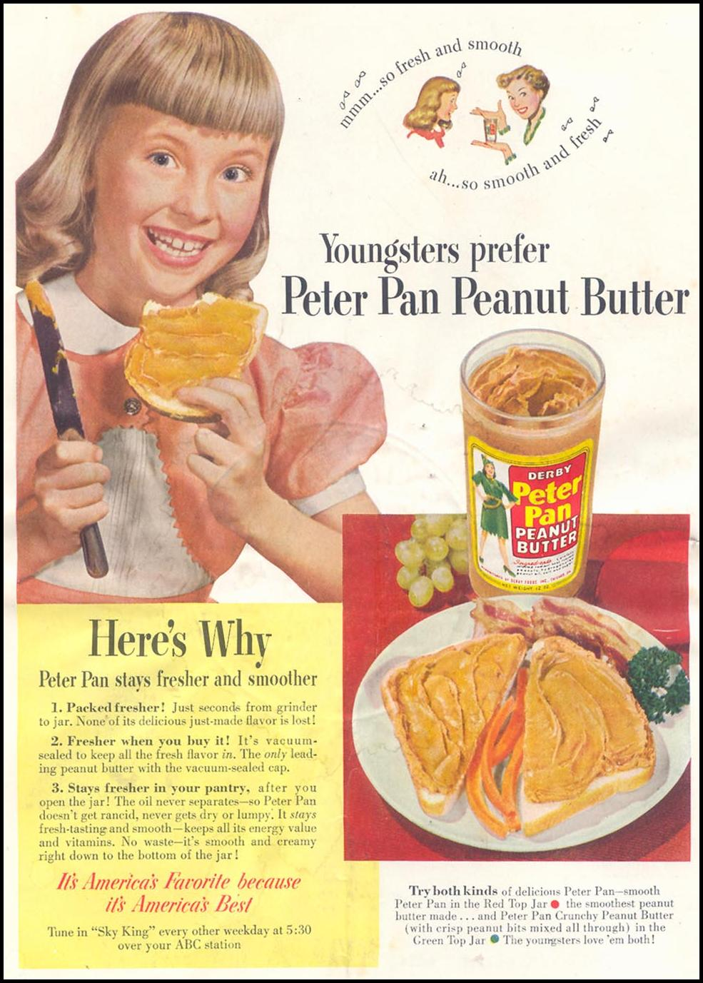 PETER PAN PEANUT BUTTER WOMAN'S DAY 10/01/1954 INSIDE FRONT