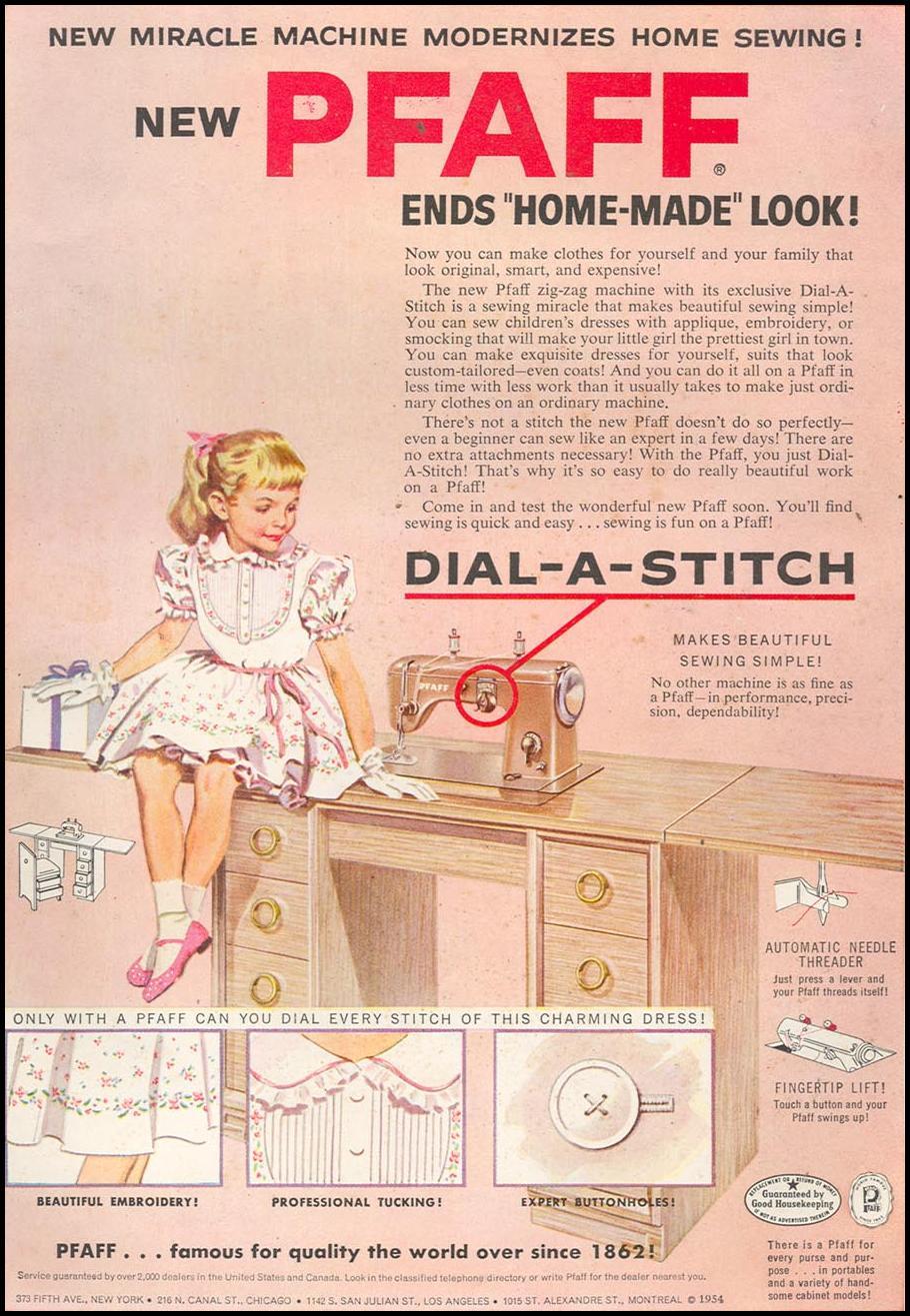PFAFF SEWING MACHINES WOMAN'S DAY 10/01/1954 INSIDE BACK