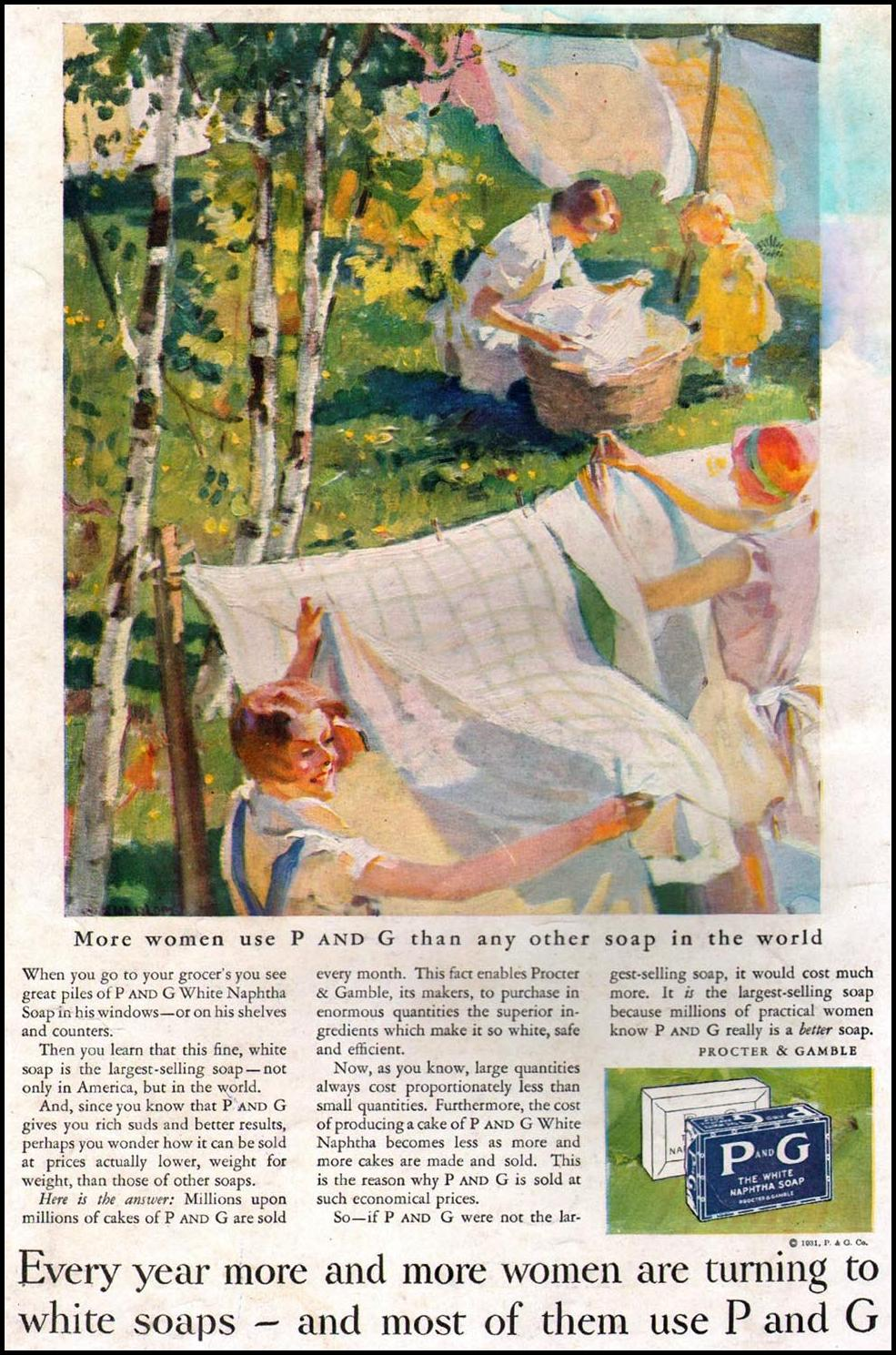 P AND G SOAP BETTER HOMES AND GARDENS 04/01/1931 BACK COVER