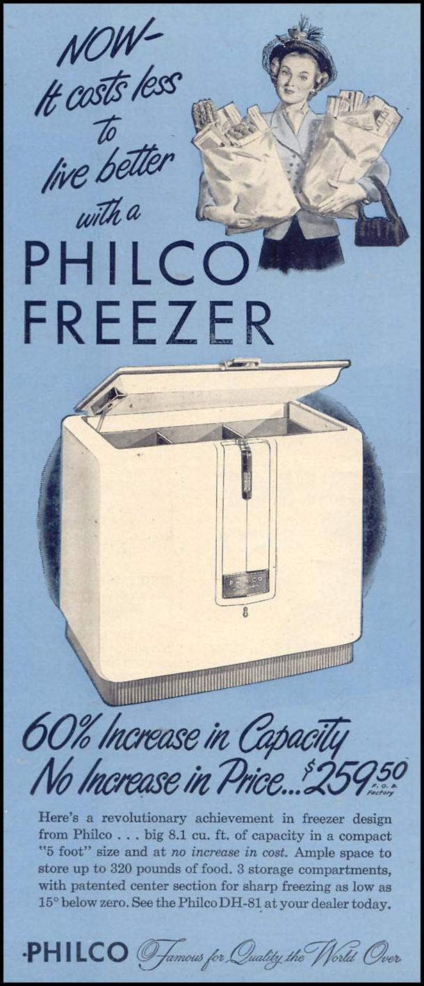 PHILCO FREEZERS WOMAN'S DAY 05/01/1946 p. 23