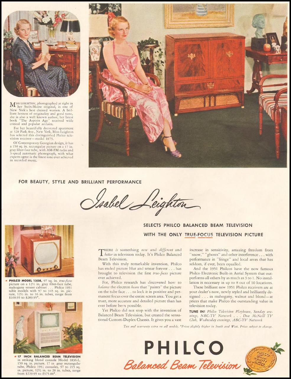 PHILCO BALANCED BEAM TELEVISION LADIES' HOME JOURNAL 11/01/1950 p. 95